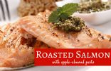 Roasted Salmon with Apple-Almond Pesto