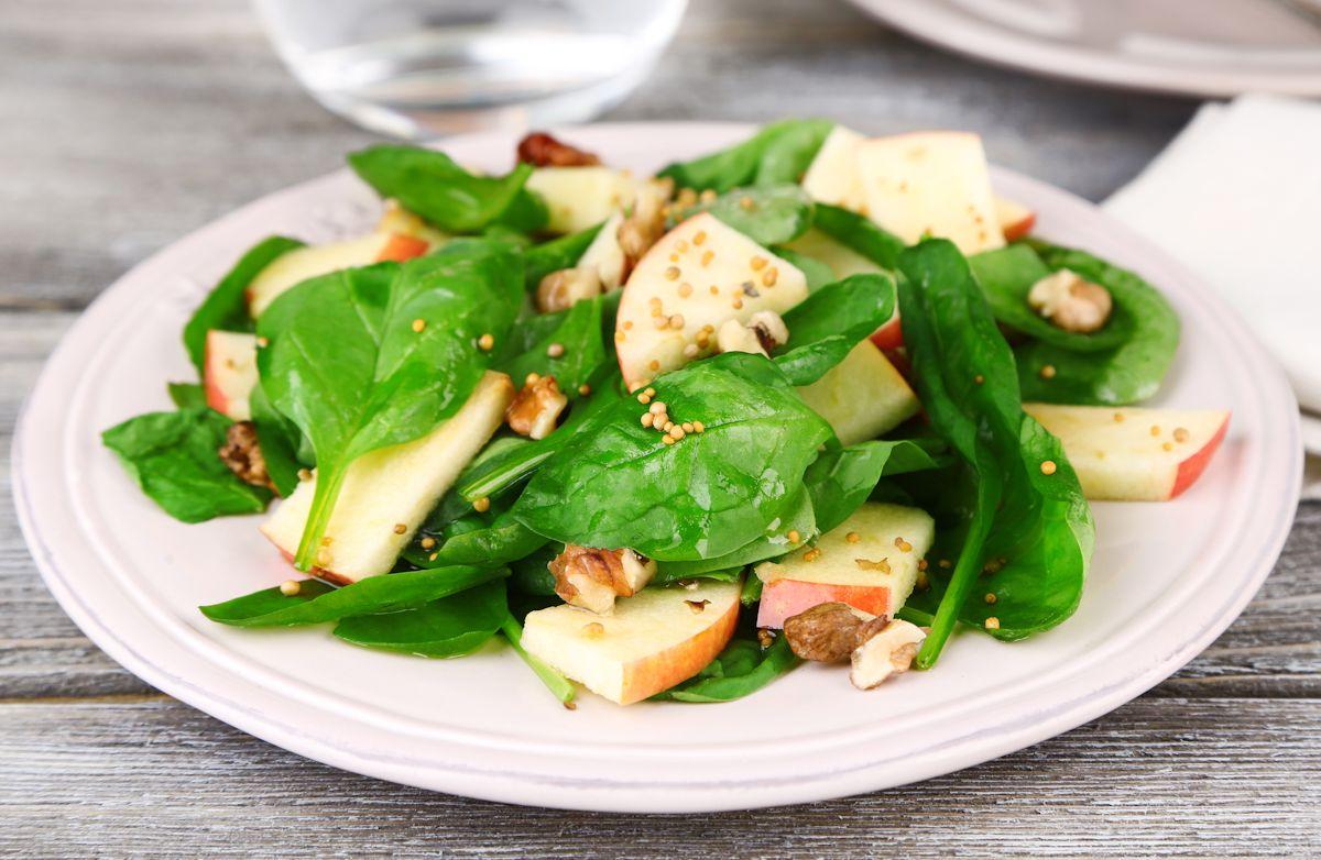 Spinach, Apple, Walnut Salad with Balsamic Vinaigrette