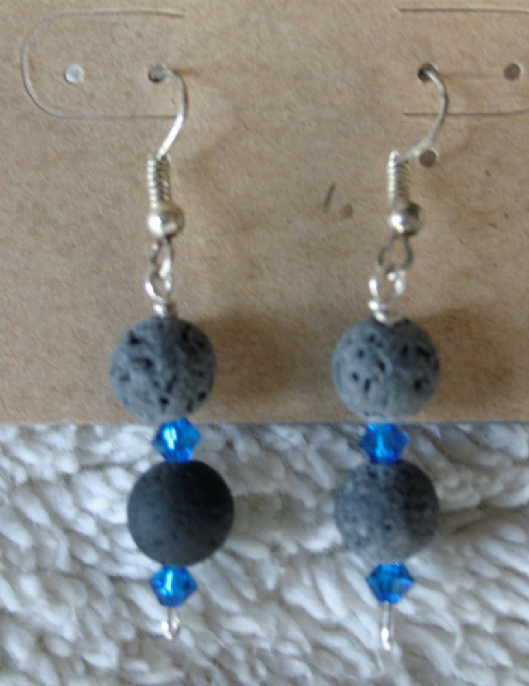 Essential Oil Earrings/dark Blue