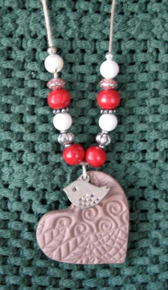 Essential Oil Necklace/Red Heart W/bird