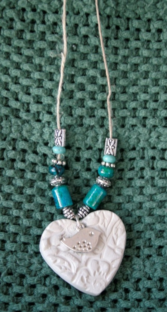 Essential Oil Necklace/Teal Heart W/bird