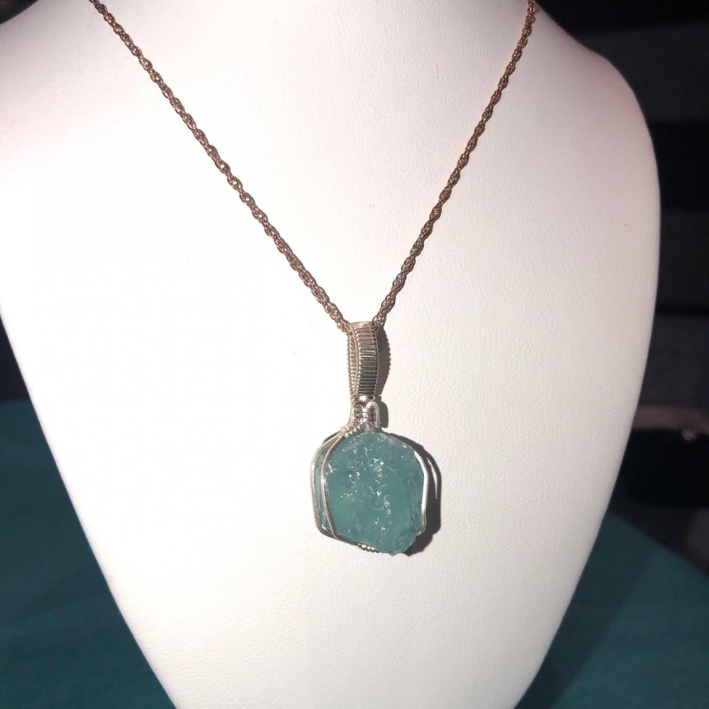 Aquamarine Mineral Wrap Pendant
