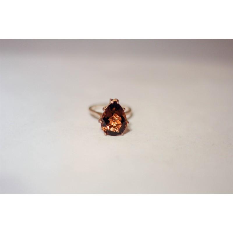 Smoky Quartz Ring, Pear Shape