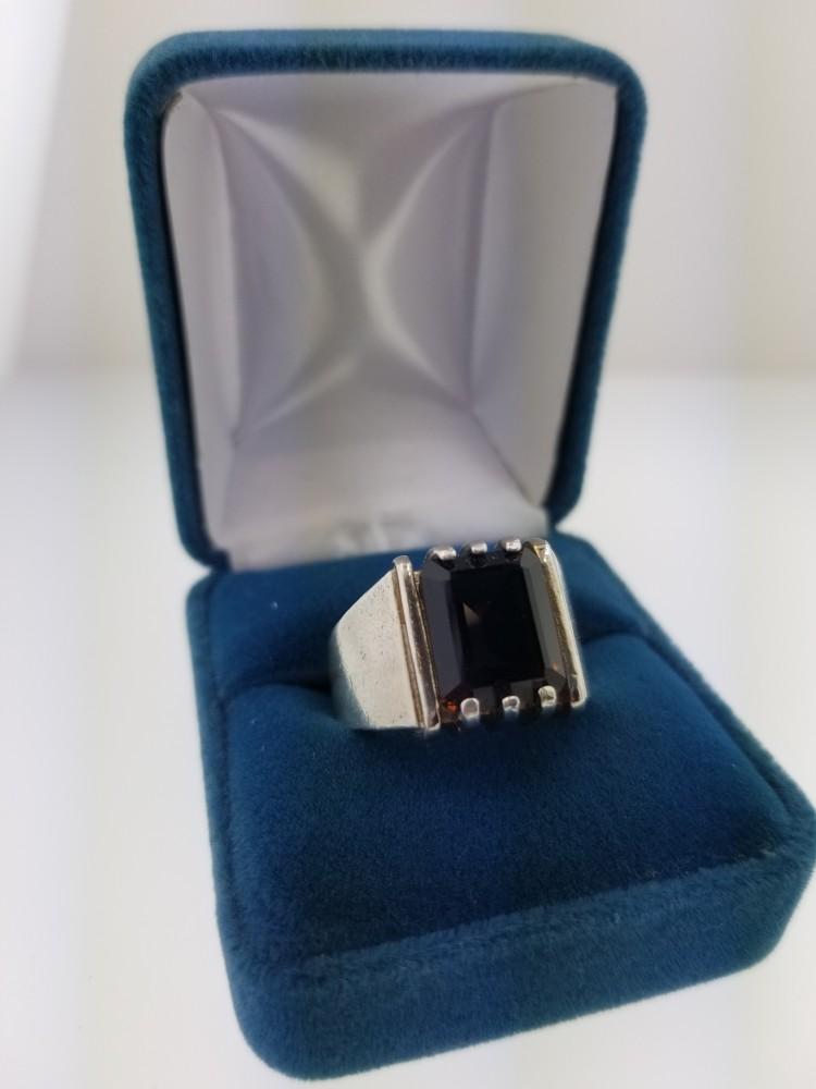 Smoky Quartz Mens Ring, Claw Style