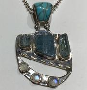 AJTA w/ Cardwell Aqua & Moonstone w/ Turquoise Inlay Pendant
