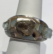 AJTA Cardwell Aquamarine, Smokey Quartz & Beryl Ring (Size 7 1/2)