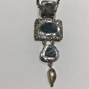 AJTA Cardwell Aqua W/ Citrine And Mother Of Pearl Inlay Pendant