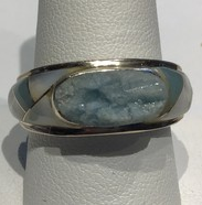 AJTA Cardwell Raw Beryl W/ Aqua & Mother Of Pearl Inlaid Ring (Size 10)