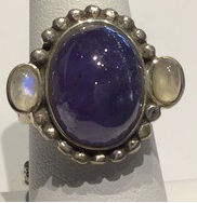 AJTA Cats Eye Tanzanite W/ Moonstone Ring (Size 7)
