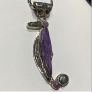 AJTA Charoite Aquamarine Labradorite Pendant