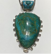 AJTA Chrysocolla & Turquoise In Sterling Silver Pendant