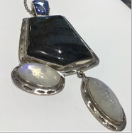 AJTA Colorful Labradorite & Moonstone Pendant