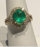 AJTA Columbian Emerald W/ Diamond Halo & Accents In 14K Gold Ring (Size 7)