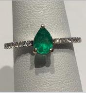 AJTA Emerald .50 Cts W/ Diamond Accents Ring (Size 7)
