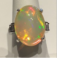 AJTA Opal W/ 14.3 Cts Diamonds Side Accents In 14K White Gold Ring (Size 7)
