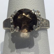 Smokey Quartz Ring Wrapped Silver (Size 7)