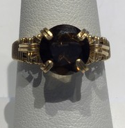 Smokey Quartz Gold Wrapped Ring (Size 7)