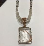 AJTA Window Quartz W/ Black Spine Beads Silver & 18k Gold wire wrap Pendant