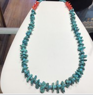 Turquoise W/ Red Coral Necklace