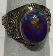AJTA Purple Turquoise And Copper Ring (Size 7)