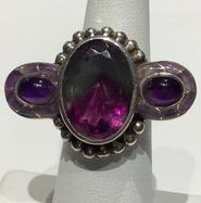AJTA Rainbow Fluorite Amethyst Ring (Size 7)