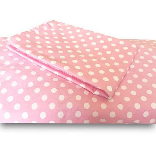 Pink Polka Dot Crib/Toddler Bed Sheet and Pillowcase Set
