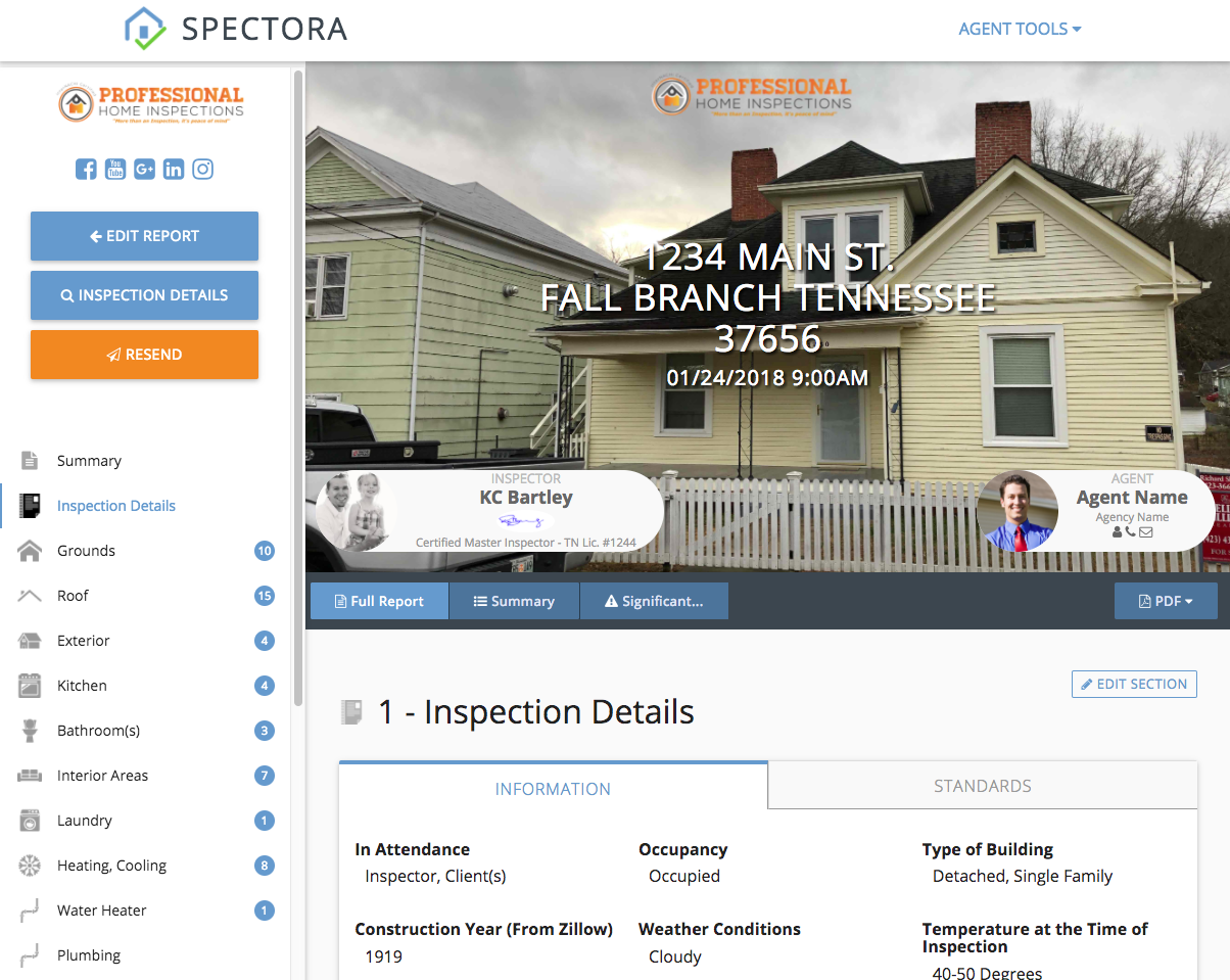 sample reports spectora home inspection software