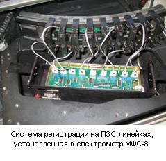 Система регистрации на ПЗС-линейках, установленная в спектрометр МФС-8.
