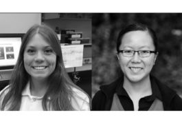 Black and white portraits of Rebecca Lim and Erin Barnard.