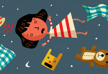 girl falling through the sky with bed, hat, pillow and teddy bear