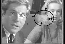 While watching an emotional scene from Who's Afraid of Virginia Woolf, normal adults focus their gaze (white crosses) on the actor's eyes, while those with autism focus (black crosses) on non-essential parts of the scene.