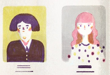 An illustration of painted faces lined up like a yearbook