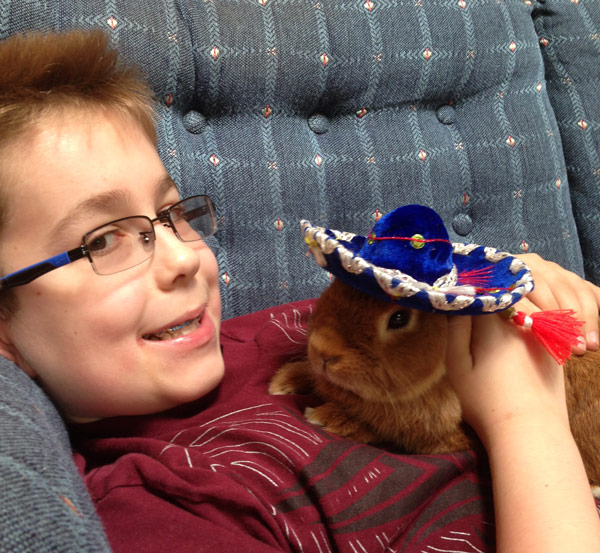 Rabbit relief: Matthew Giesse, who has both Crohn's disease and autism, plays with one of his pet rabbits during a relatively pain-free moment. Courtesy of the Giesse family
