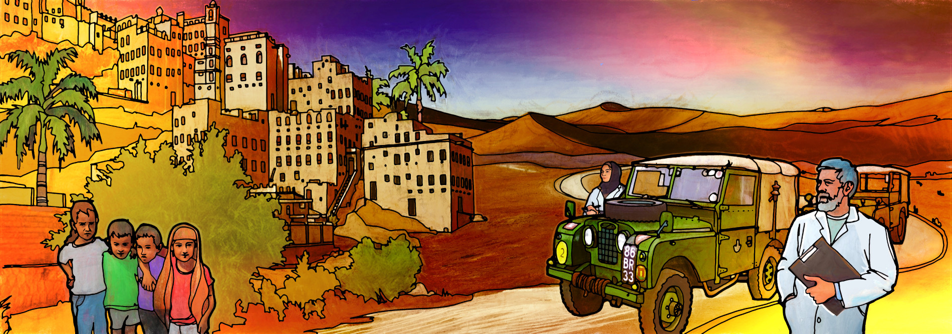 Illustration shows doctors in Libya looking at a city, with children standing in the foreground.