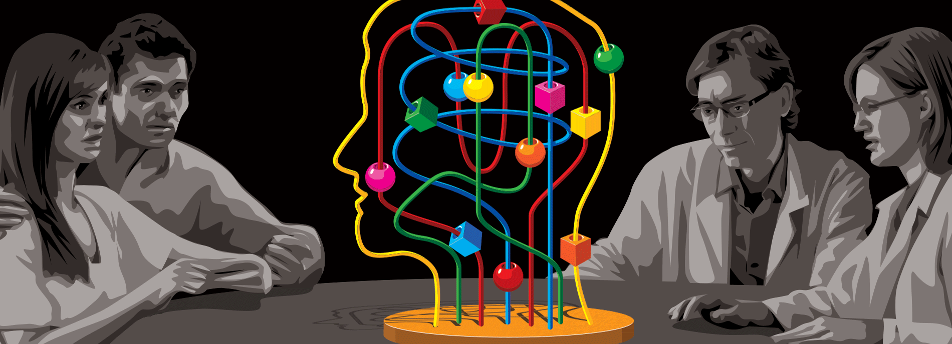 Scientists gather around a puzzle shaped like a human head.