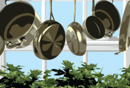 Image of pots and pans hanging from the ceiling. This is meant to be a visual pun, because marijuana is also known as 'pot'.