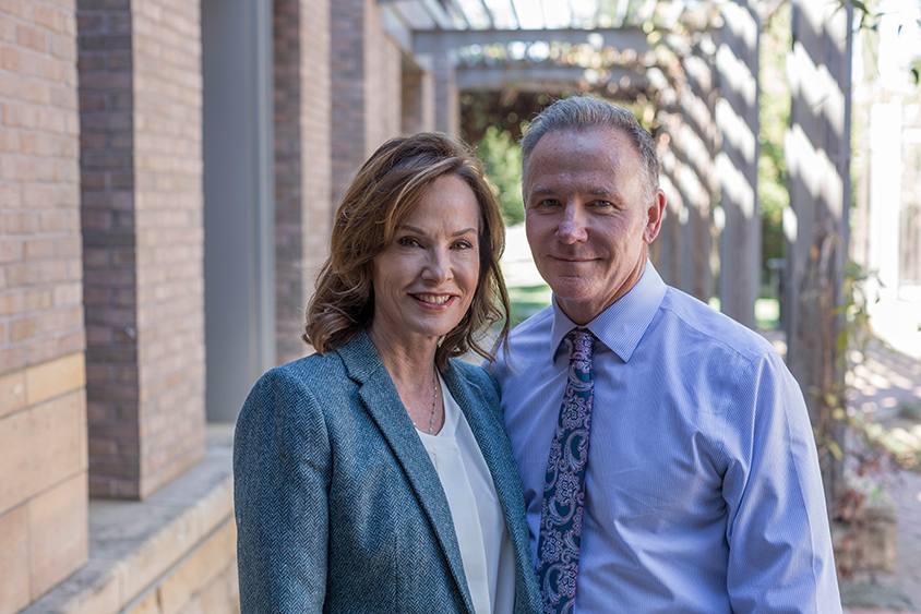 Building hope: Sarah and Chuck Gardner stand outside the MIND Institute, which they helped found and fund.Photography by Jonathan Sprague