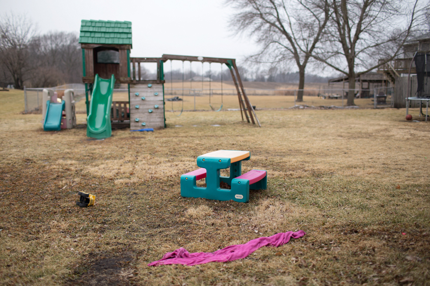 A playset backs up to a field at a home daycare in Madrid, Iowa on Thursday, January 19, 2017. KC McGinnis for Spectrum