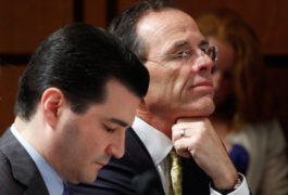 Scott Gottlieb, left, and Safeway Inc. President and Chief Executive Officer Steve Byrd, listen to testimony on Capitol Hill in  2009, during the Senate Health Committee's healthcare roundtable. Harry Hamburg / AP Photo