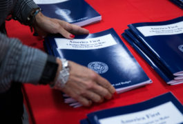 Copies of President Trump's America First budget at the U.S. Government Printing Office bookstore in Washington, D.C., 16 March 2017. Shawn Thew / Newscom