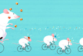 Four white mice bike ahead of a white rat, who is juggling on a unicycle; suggesting that rats can do more for research than mice.
