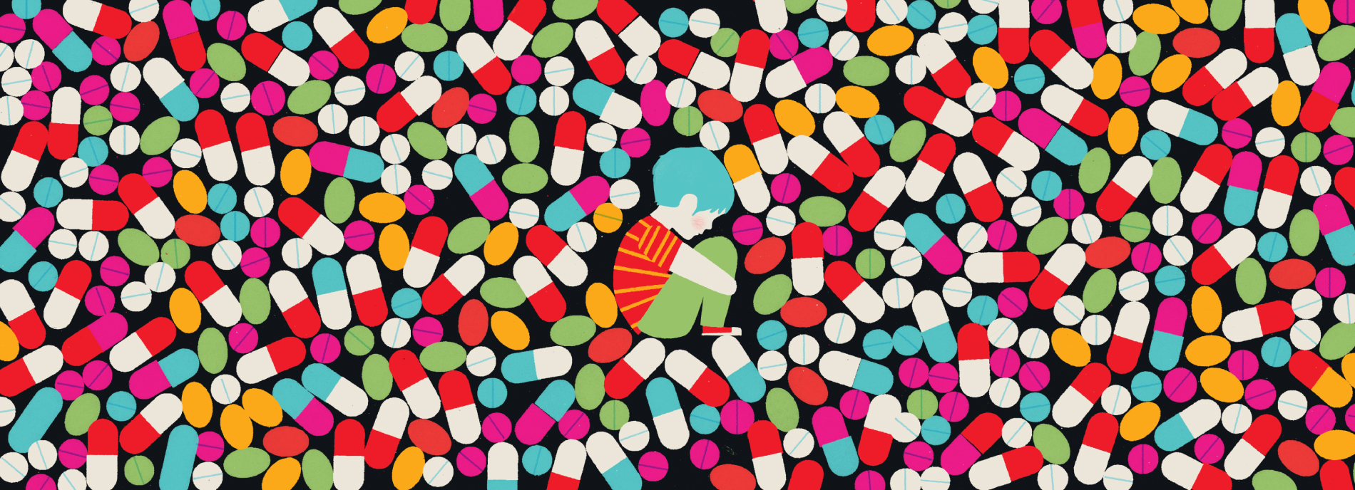 A small boy is surrounded by pills, evoking a sense that we are giving individuals on the spectrum too many psychiatric drugs.