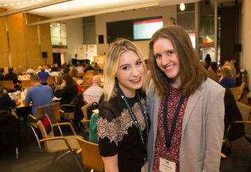 Shira Strongin, left, and Emily Muller, right, pose at the Rare Disease Legislative Advocates conference in Washington, D.C., on 28 February 2017. H. Darr Beiser / Kaiser Health News