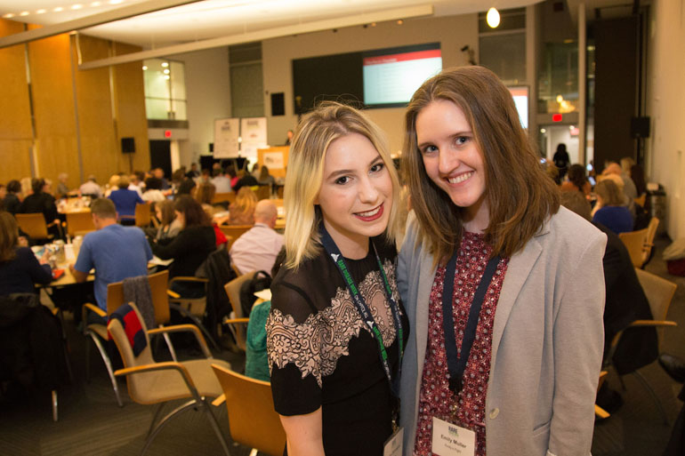 Shira Strongin, left, and Emily Muller, right, pose at the Rare Disease Legislative Advocates conference in Washington, D.C., on 28 February 2017.