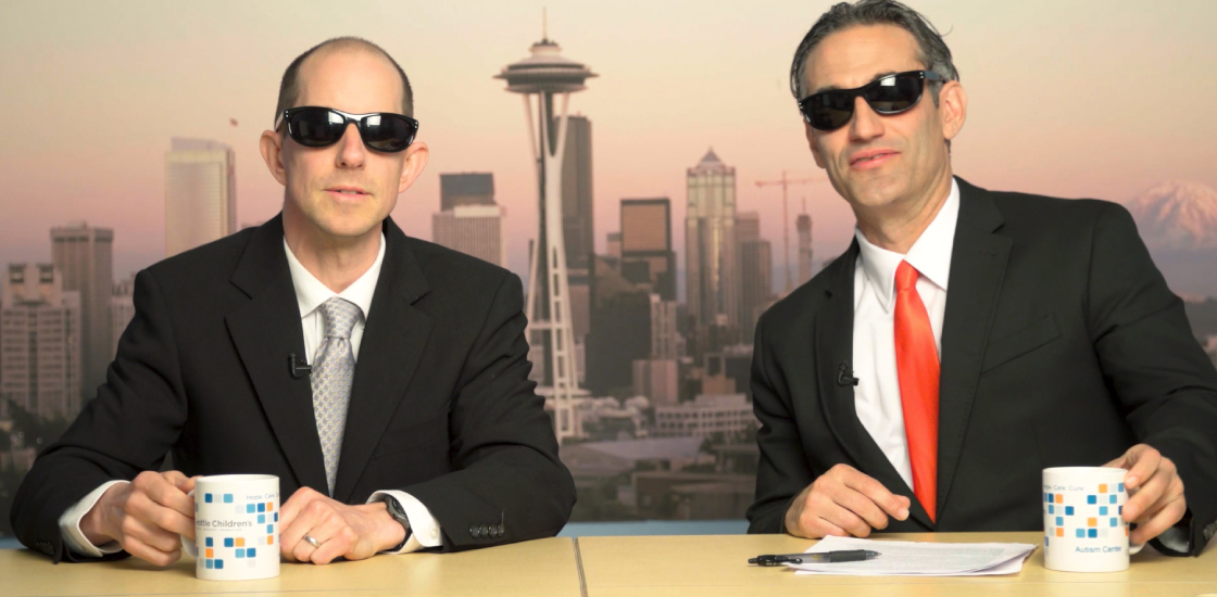 Autism correspondents Raphael Bernier and James Mancini look fly in a pair of sunglasses.