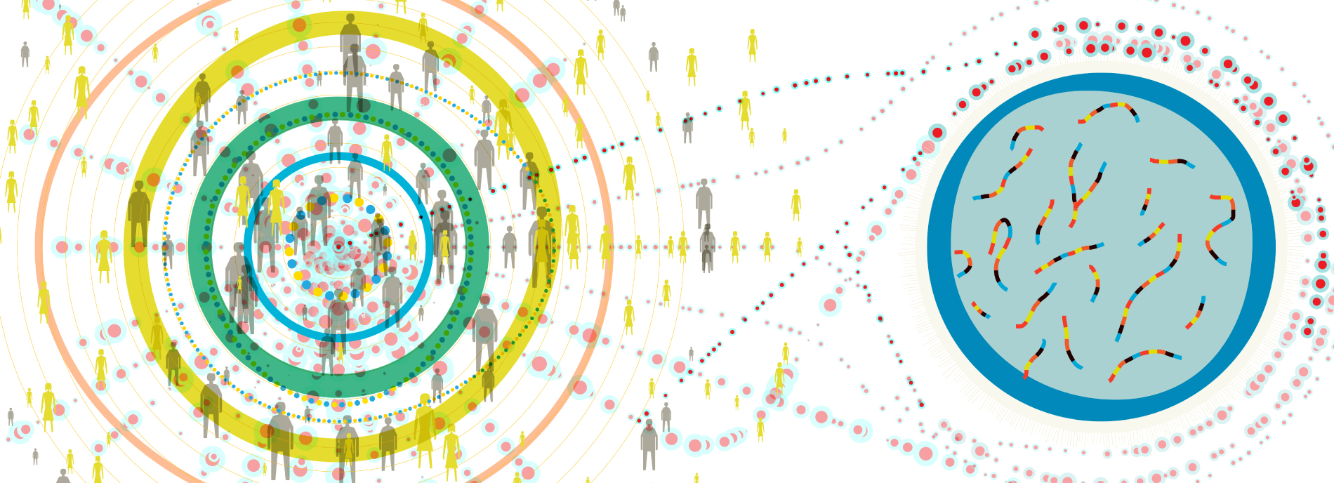 Illustration showing large group of people in a shape suggestive of a GWAS visual, connected to a pertri dish. The image is suggestive of large scale genetics research.