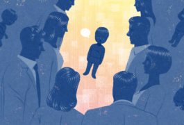 Illustration: a child stands in the center of a crowd, looking confused.