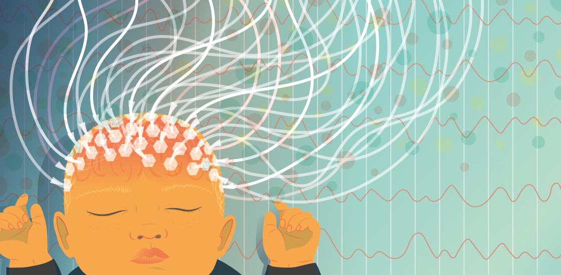 Illustration of baby with an EEG cap.