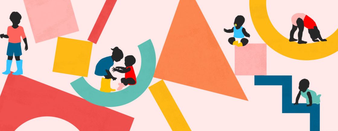 Illustration of large colorful geometric shapes with children balancing on them.
