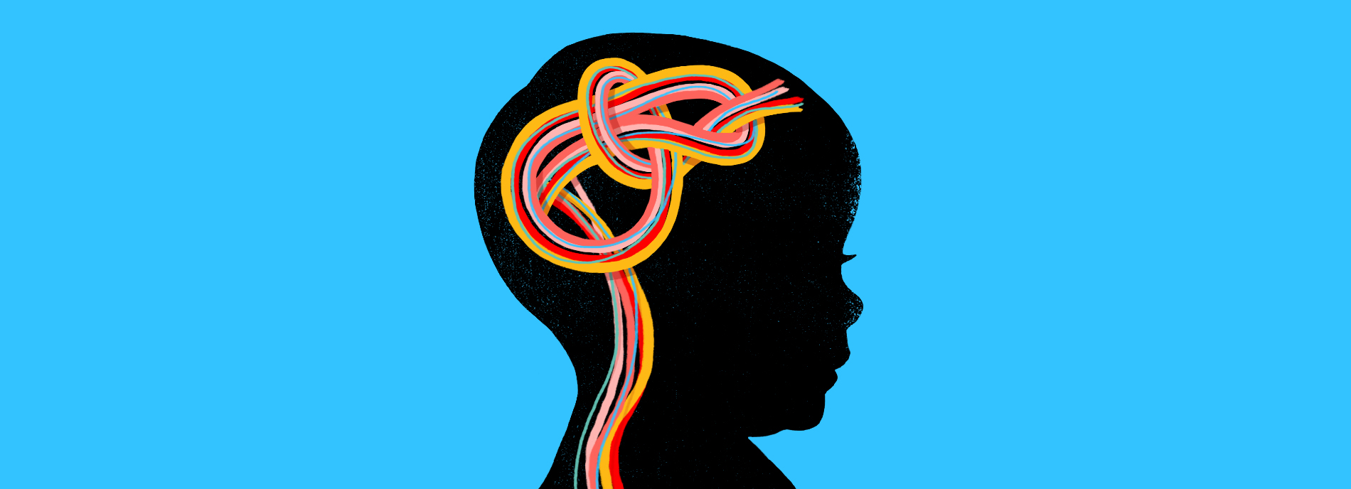 Illustration of child's silhouette with brain as a colorful knot.